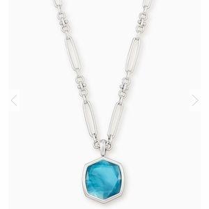 Davis Silver Pendant Necklace In Peacock Blue